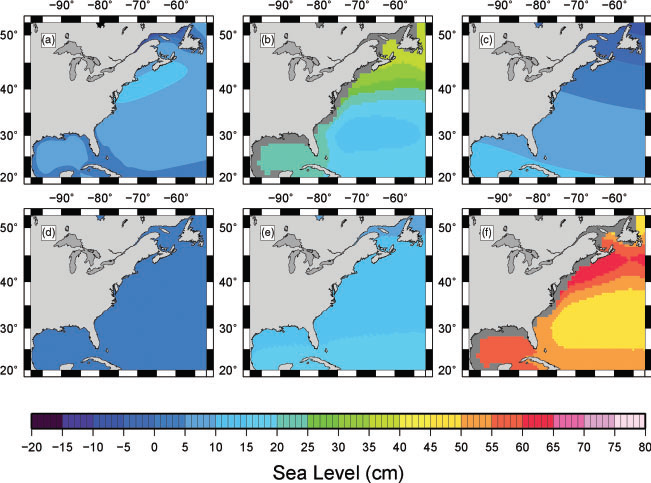 The contribution of glacial isostatic adjustment to projections of sea-level change along the Atlantic and Gulf coasts of North America