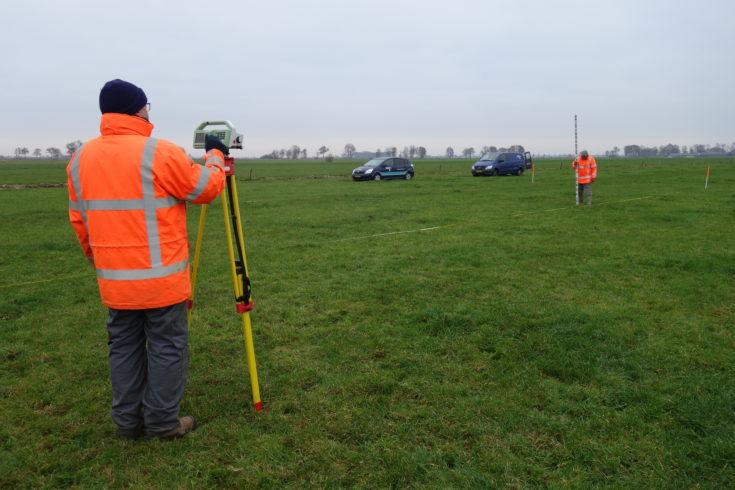Measure ground level using a survey method